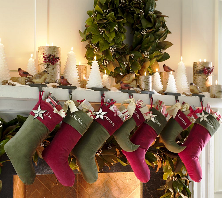 decoracion de navidad colores vibrantes decorar casa chimenea calzetines ideas