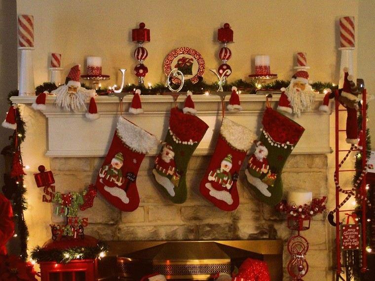 decoracion de navidad colores vibrantes decorar casa chimenea preciosa ideas