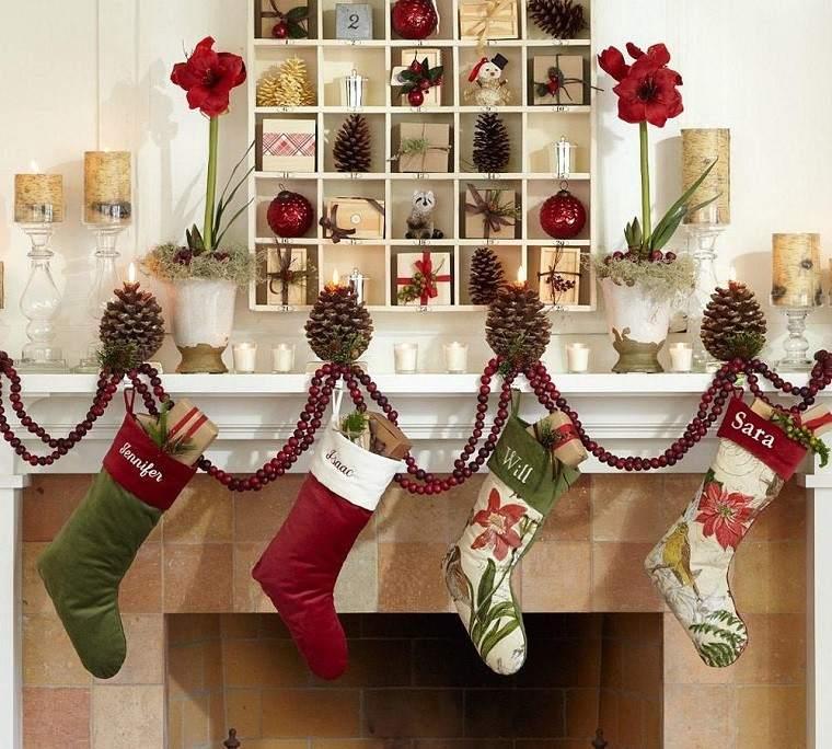 decoracion de navidad colores vibrantes decorar casa estanterias ideas