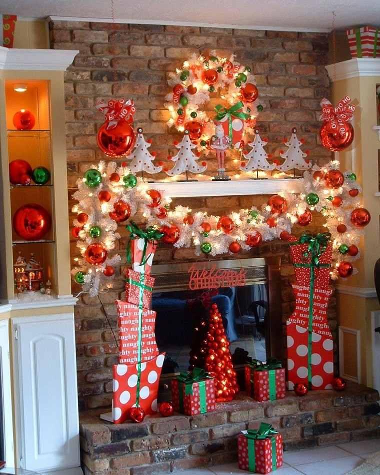 decoracion de navidad colores vibrantes decorar casa rojo chimenea ideas