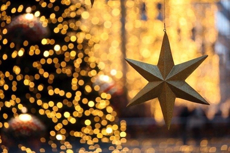 decoracion de navidad brillante oro estrella arbol ideas