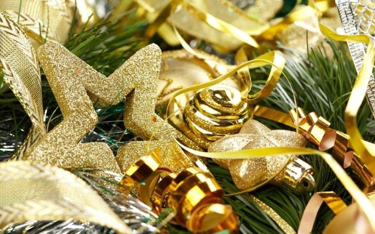 decoracion de navidad brillante oro estrella bolas ideas