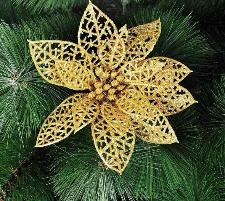 decoracion de navidad brillante oro flor arbol ideas