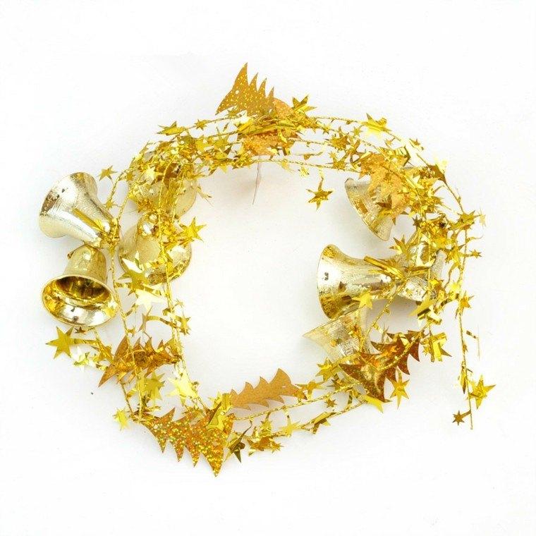 decoracion de navidad brillante oro guirnalda campana ideas