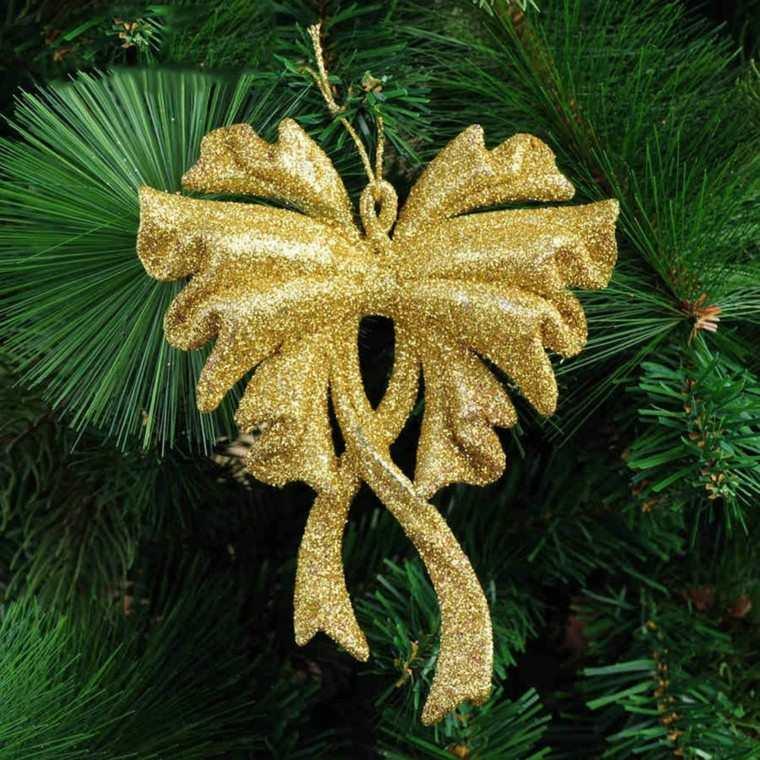 decoracion de navidad brillante oro lazo arbol ideas