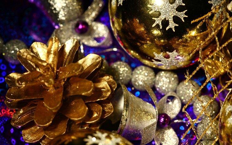 decoracion de navidad brillante oro pina bolas ideas