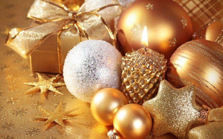 decoracion navidad brillante oro velas bolas estrellas ideas