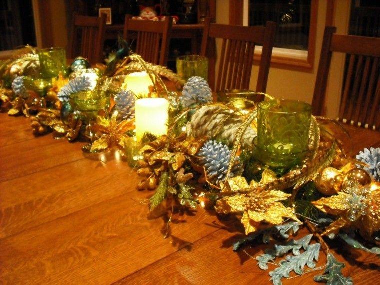decoracion de navidad brillante oro velas centro mesa ideas