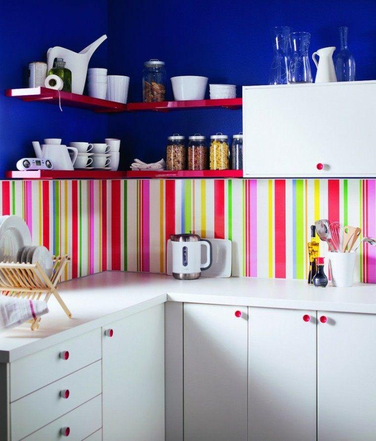 Decoracion de paredes rayas mosaico o acero en la cocina - Cocinas decoracion paredes ...