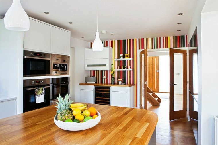 decoracion de paredes cocina  creativo colorido ideas modernas
