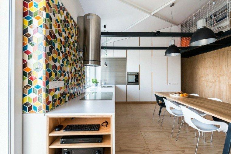 decoracion de paredes rayas cubos colores vibrantes cocina ideas