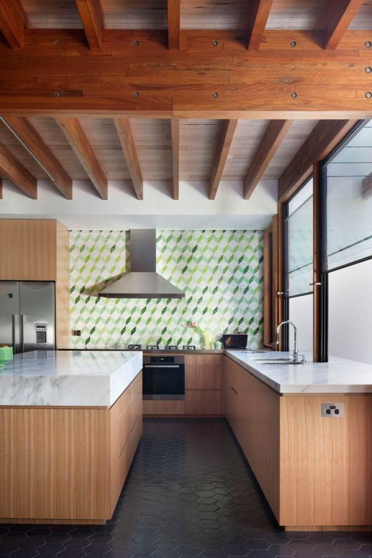 decoracion de paredes rayas cubos geometricos cocina ideas