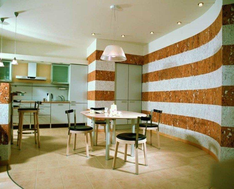 Decoracion de paredes rayas mosaico o acero en la cocina - Rayas horizontales ...