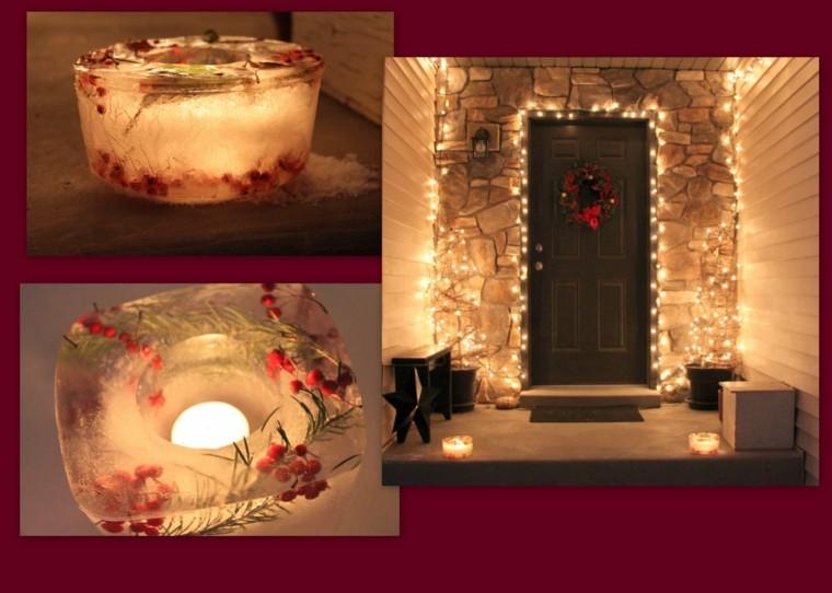 decoracion entrada casa candelabros hielo ideas