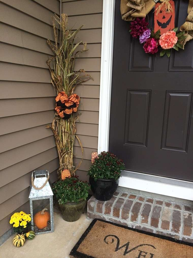 decoracion farolas iluminacion entrada hojas maiz ideas