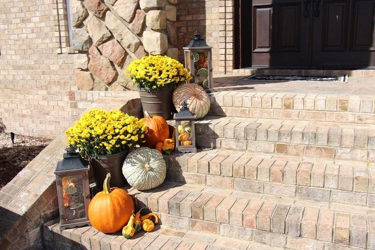decoracion farolas iluminacion escaleras entrada casa ideas