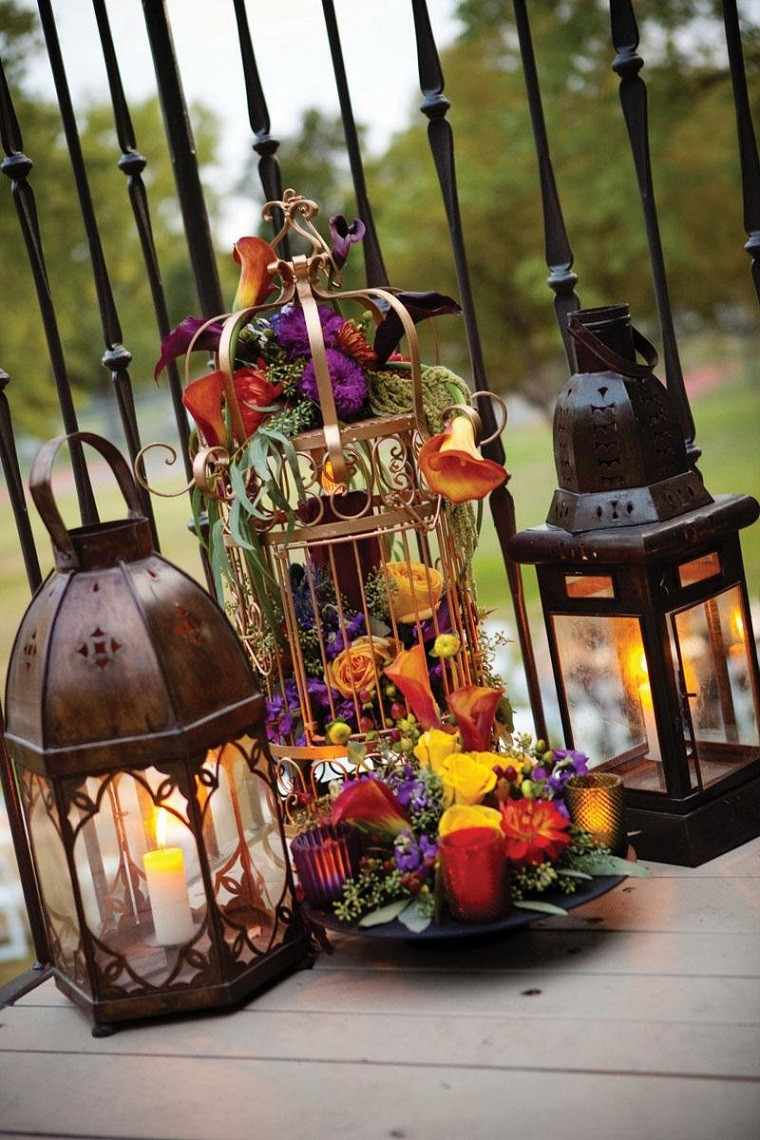 decoracion farolas iluminacion jaula flores ideas