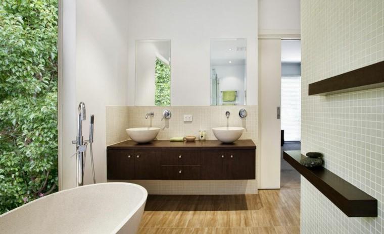 decoracion feng shui baño lavabo espejos