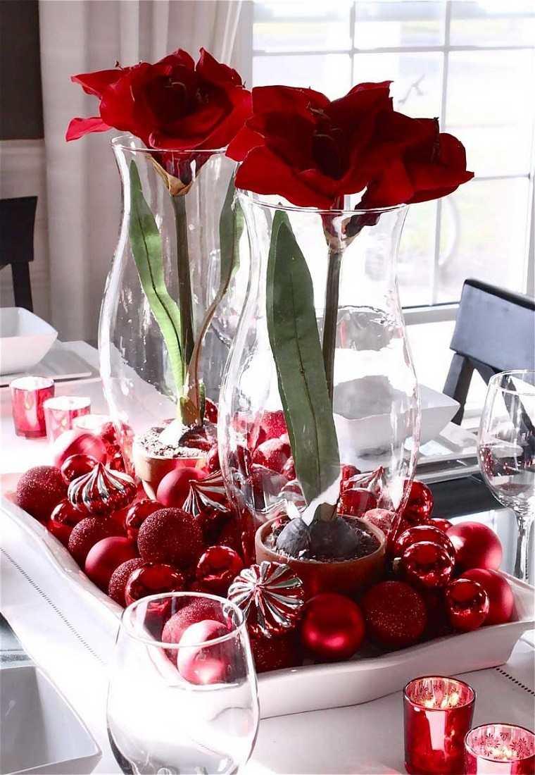 decoracion navidad colores vibrantes decorar casa flores bolas rojas ideas