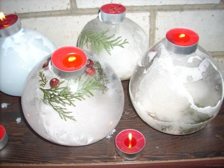 Decoracion navidad hielo para decorar el jard n - Adornos navidenos con velas ...