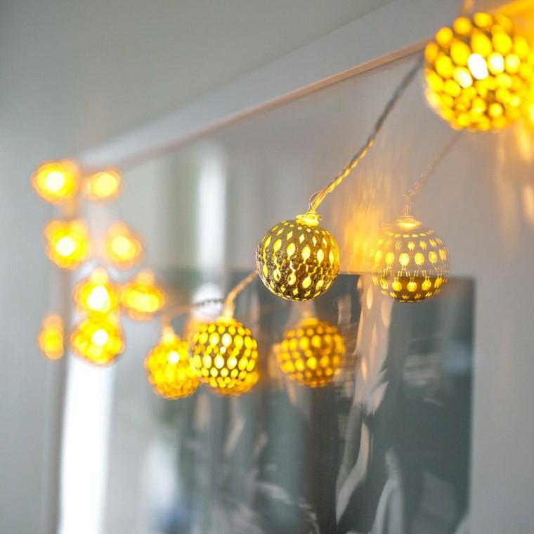 decoracion navidad brillante oro bolas iluminar casa ideas