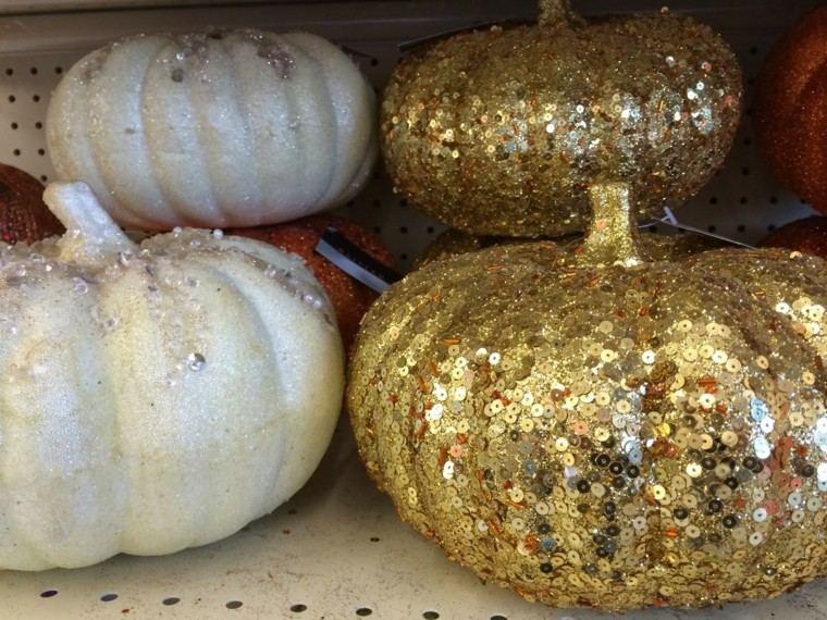 decoracion navidad brillante oro calabazas preciosas ideas