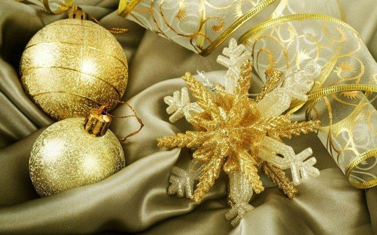 decoracion navidad brillante oro copo nieve ideas