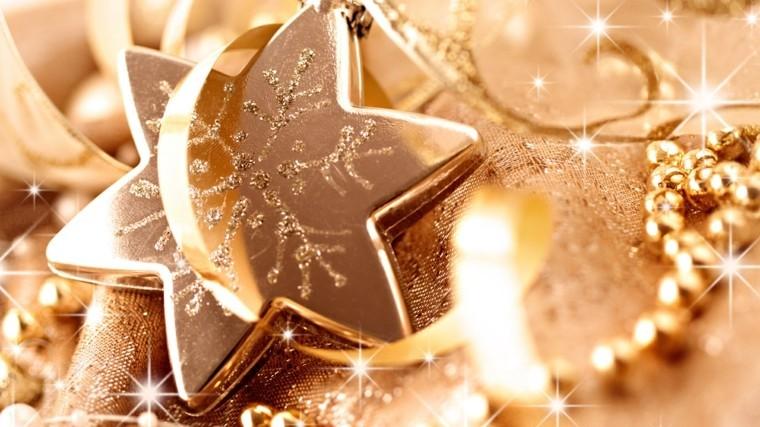 decoracion navidad brillante oro estrella guirnalda ideas