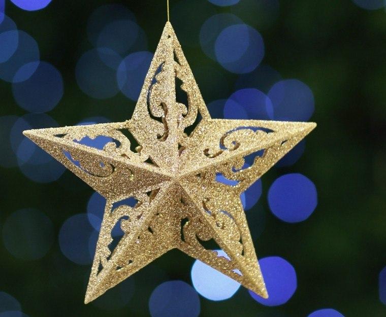 estrella navidad decora arbol fiestas oro brillante ideas