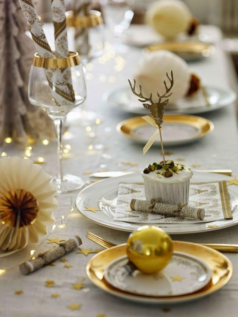 decoracion navidad brillante oro mesa navidena bola oro ideas