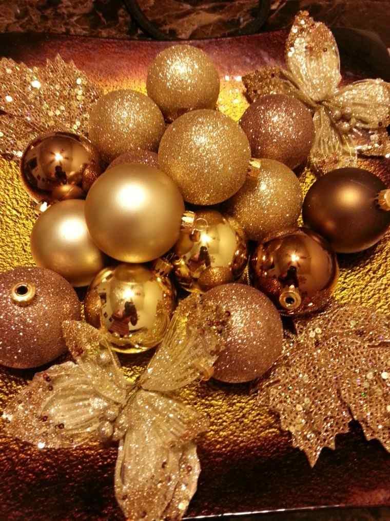 decoracion navidad brillante oro plato bolas ideas