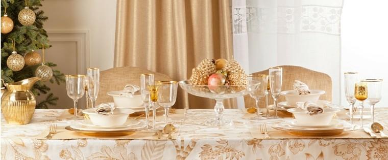 decoracion navidad brillante oro plato cristal mesa ideas