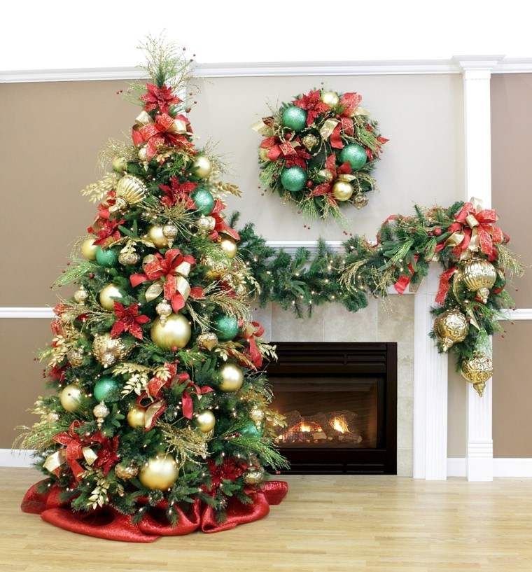 Decoracion de navidad brillante con adornos de color oro - Decoracion arbol navidad ...