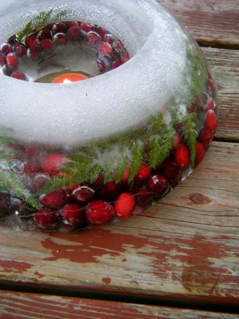 decoracion navidad hielo candelabro fruras vela ideas