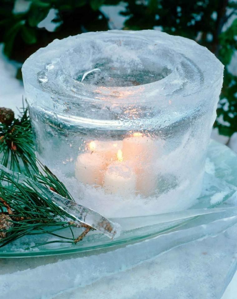 decoracion navidad hielo candelabro velas creativo jardin ideas