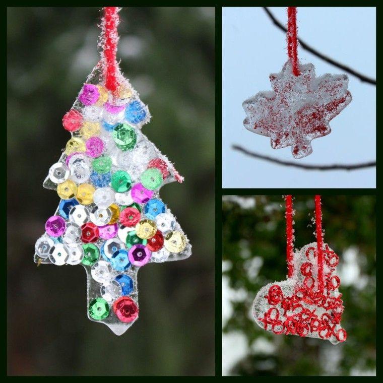 decoracion navidad hielo corazon hoja arbol navidad ideas