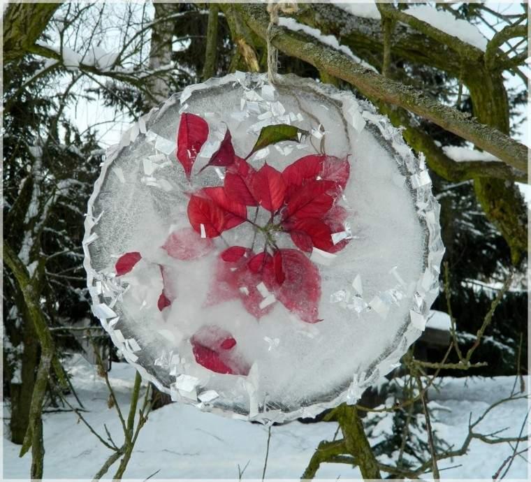 decoracion navidad hielo guirnalda colgando arbol planta roja ideas