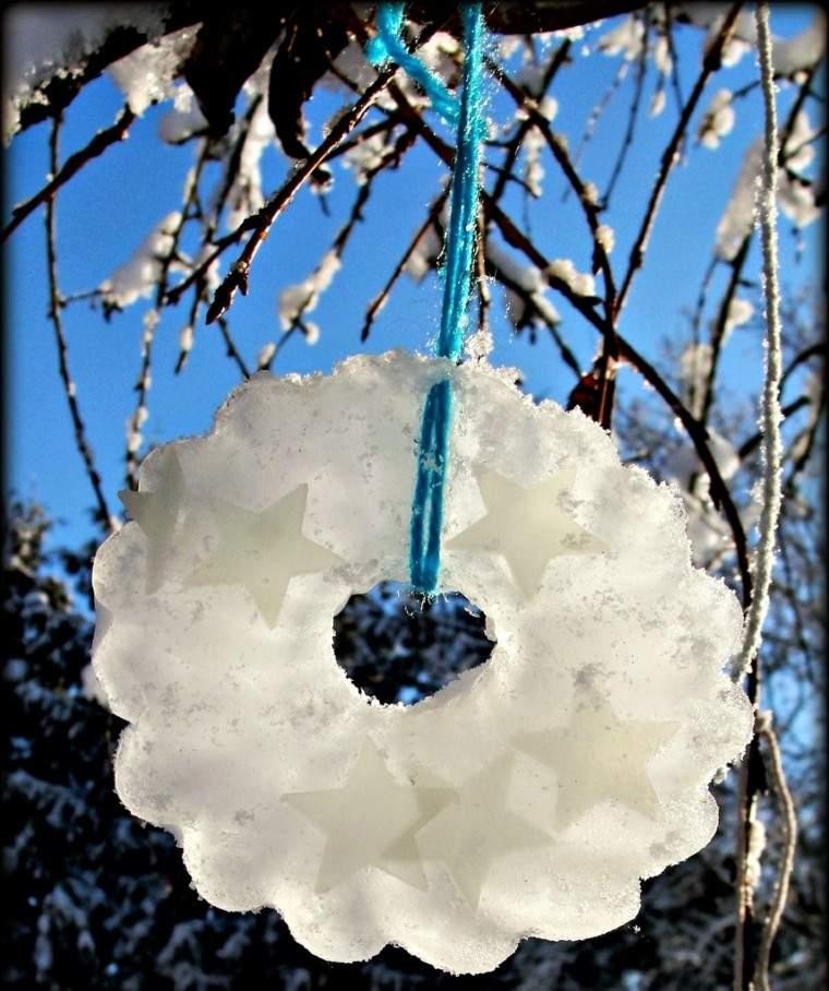 decoracion navidad hielo guirnalda estrellas ramas ideas