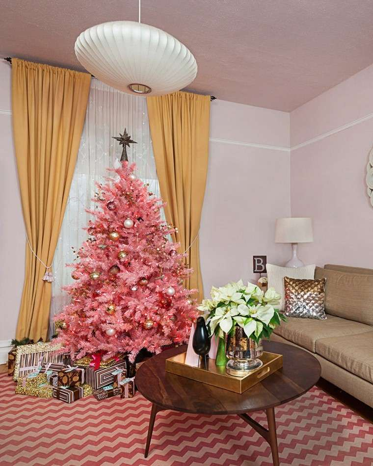 decoracion navidad ideas para decorar arbol rosa salon moderno