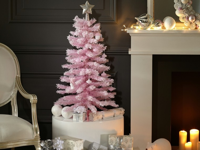 decoracion navidad ideas para decorar arbol rosa moderno