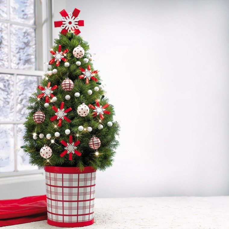 decoracion navidad ideas para decorar maceta roja blanca moderno