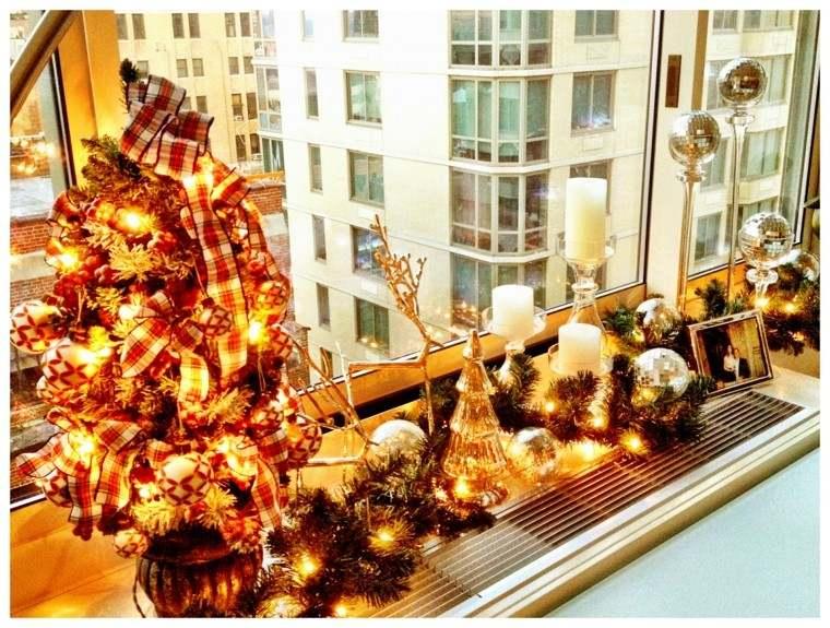 decoracion navidad ideas para decorar ventana oro luces