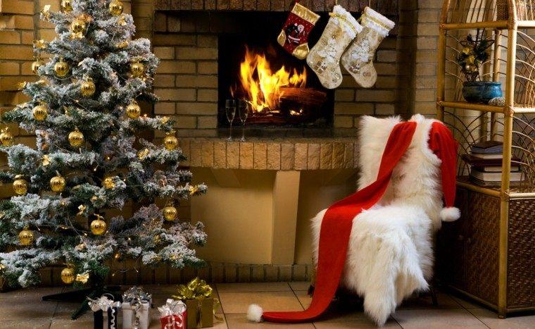decoracion navideña chimeneas calzetines blancos ideas
