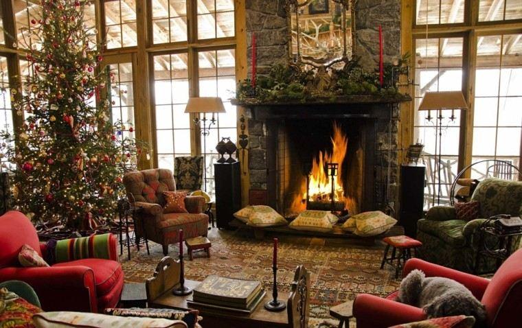 decoracion navideña chimeneas preciosa acogedor salon arbol navbidad ideas