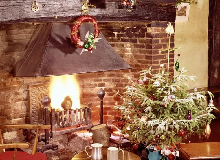 decoracion navidena chimeneas preciosa lazo rojo ideas