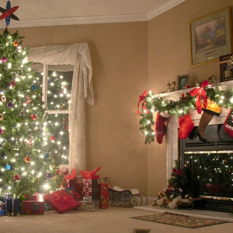 decoracion navidena chimeneas preciosa luces lazos rojos ideas