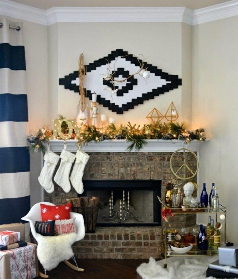 decoracion navidena chimeneas preciosa velas calzetines ideas