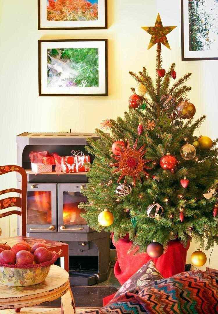 decoracion navidena salon adornos rojos arbol ideas