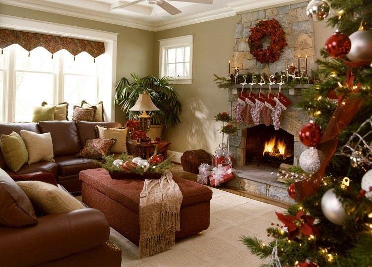 decoracion navidena salon guirnalda roja chimenea ideas