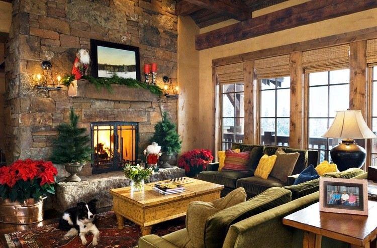 decoracion navidena salon rustico abetos lados chimenea ideas